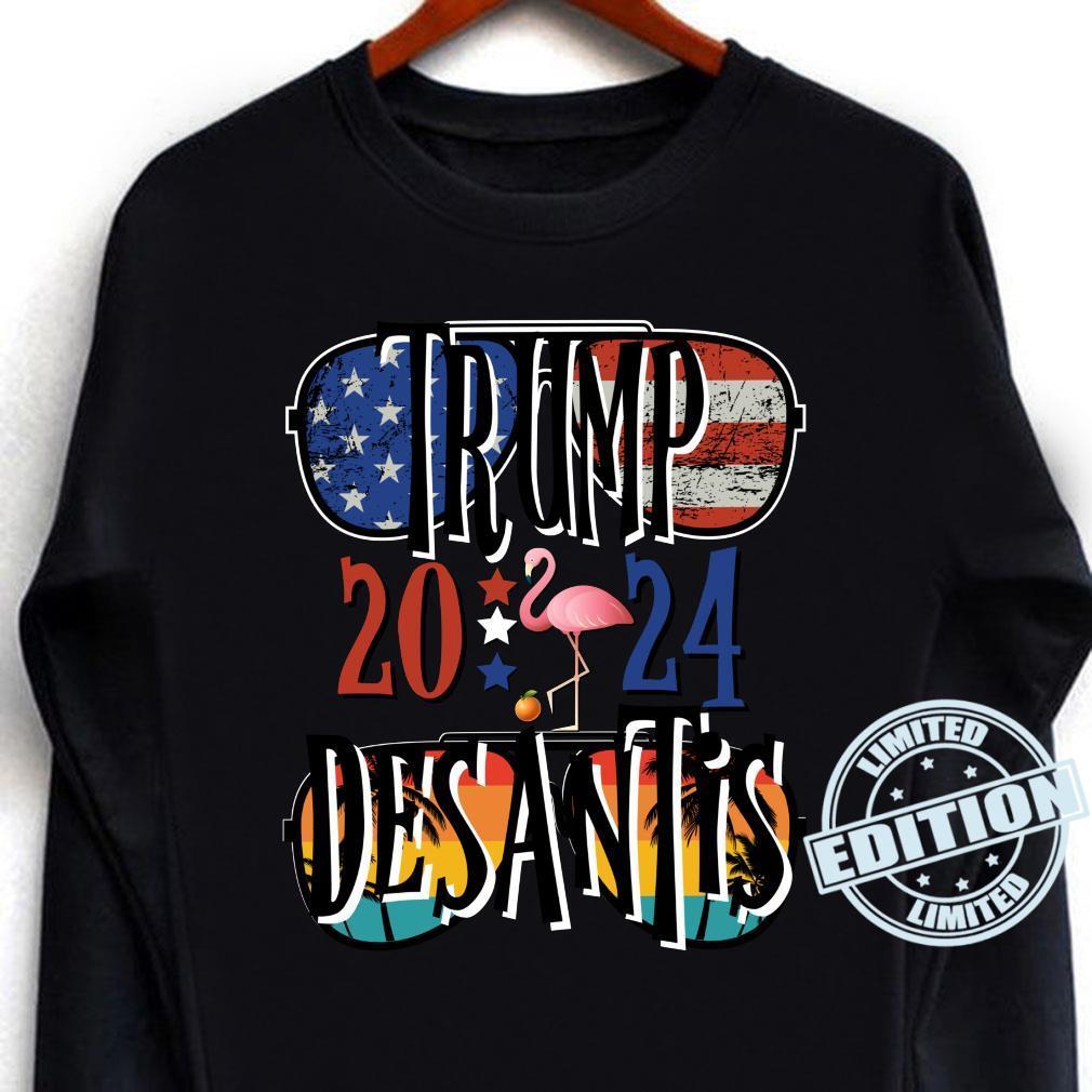 Trump DeSantis 2024 Election American Flag Flamingo s Shirt long sleeved